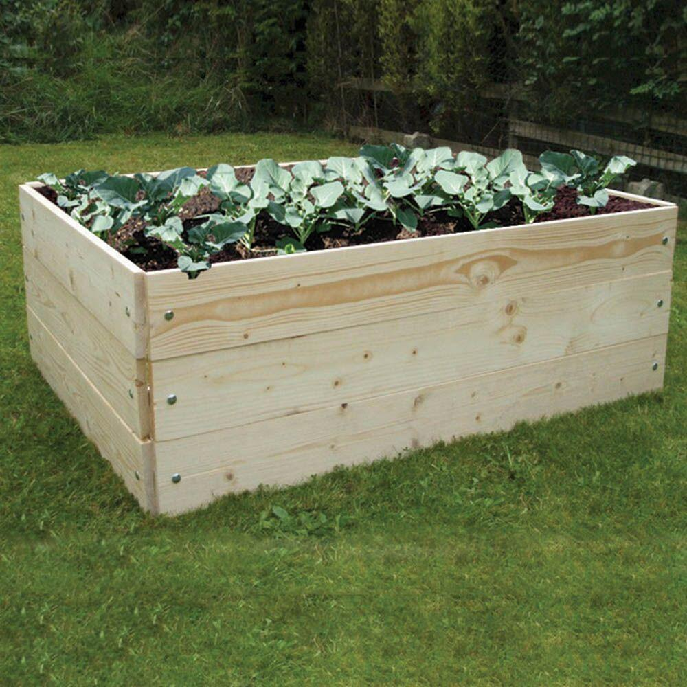 Raised Wooden Grow Bed