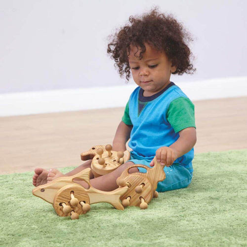Wooden Wheeled Animal Push Along Toys 3pk