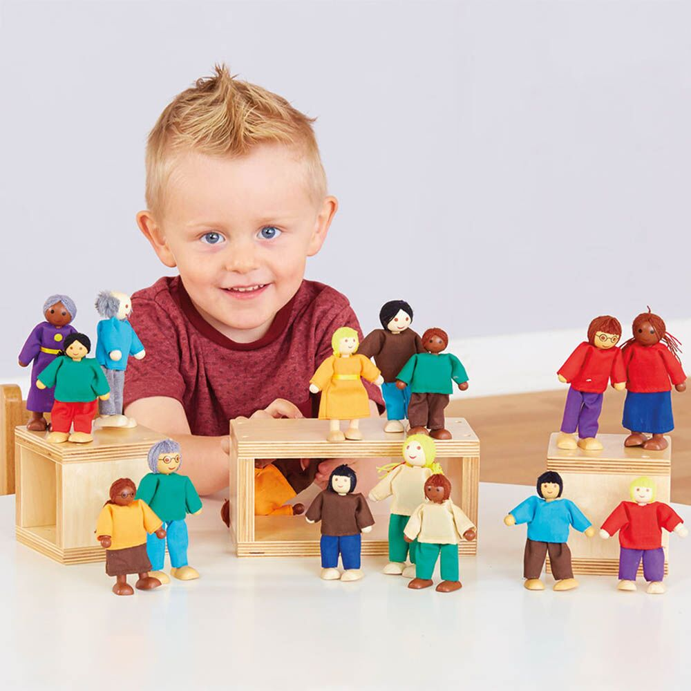 Wooden Small World Diversity Multicultural Family