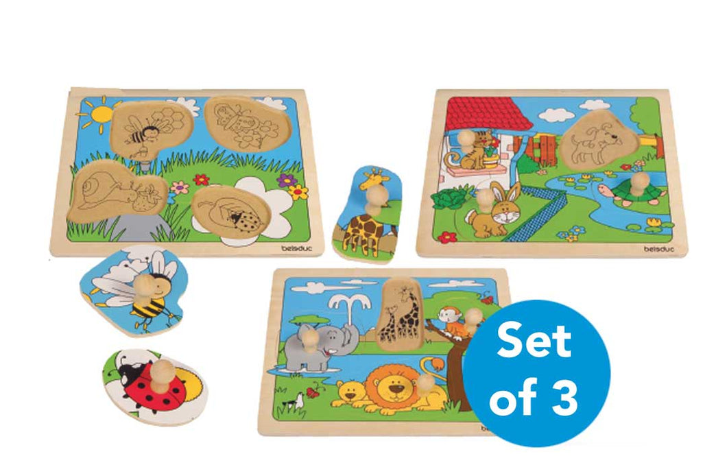 Large Peg Puzzles - Set of 3