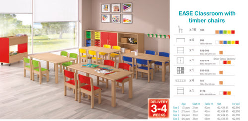 Kite Classroom with Timber chairs 38cm