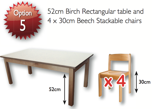 53cm Magnolia  Ractangle Table & 4 31cm Beech Chairs - EASE