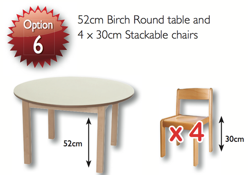 46cm Magnolia  Round Table & 4 26cm Beech Chairs