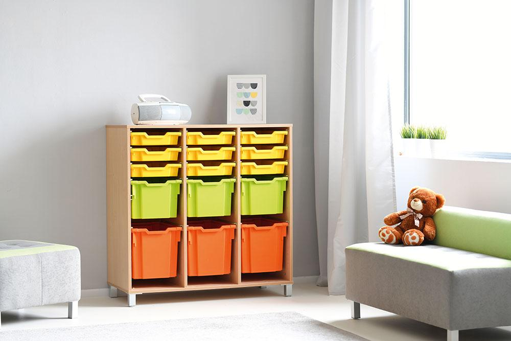 Tray Storage Large Cabinet with Castors for plastic Containers - combination of trays - H106cm