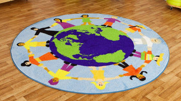 Children of the World Multi Cultural Carpet - Blue - EASE