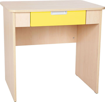 Quadro - desk with wide drawer white/maple - yellow