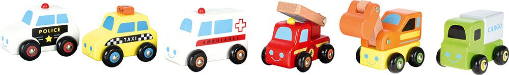 Mini wooden toy cars, 6 pcs