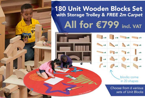 Quarter Block School Set (180 pcs) with Storage Unit and FREE Carpet