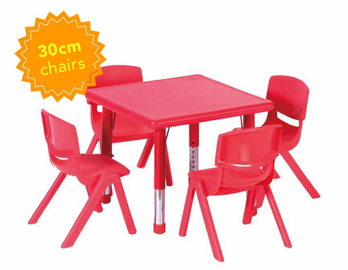Adjustable Square Polyethylene Table & 4 x 30cm Chairs