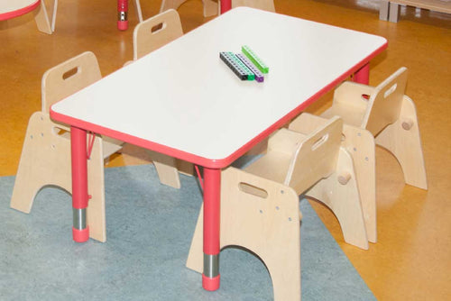 Adjustable Rectangle Polyethylene Table with White Top and 4 toddler Chairs (26cm)