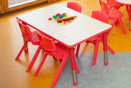 Adjustable Rectangle Polyethylene Table with White Top and 4 30cm Kite chairs oddler Chairs (30cm)