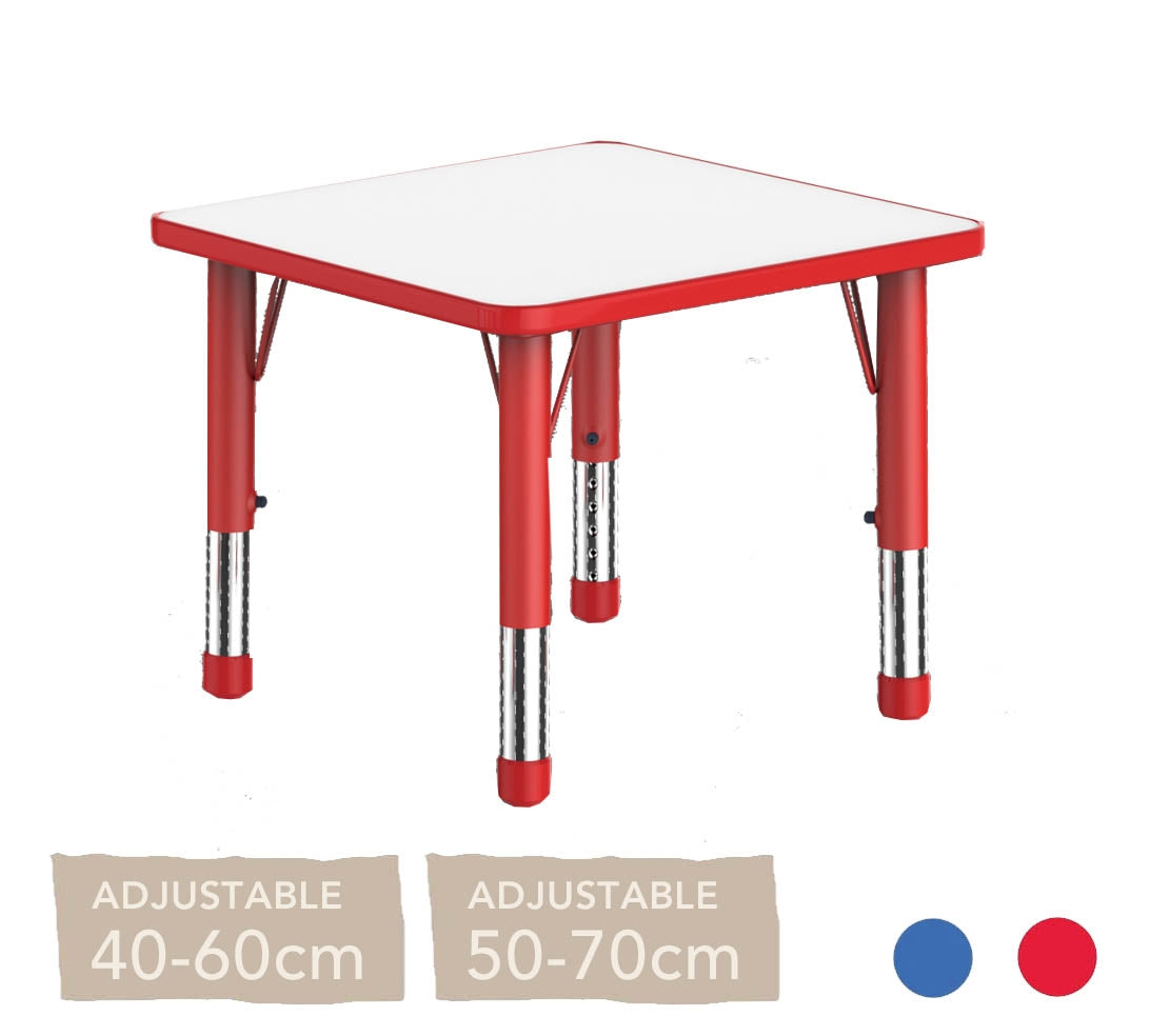 Adjustable Square Polyethylene Table with Orchid White Top - All Heights and Colours