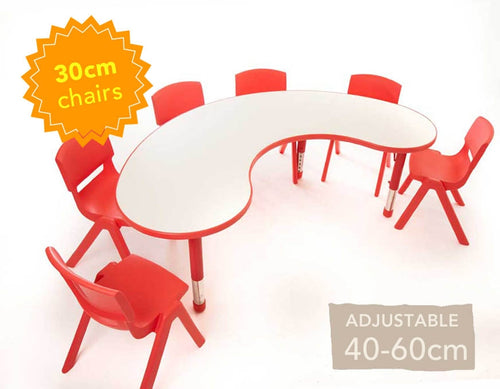 Adjustable Polyethylene Horseshoe Table with White Top & 6 chairs 30cm
