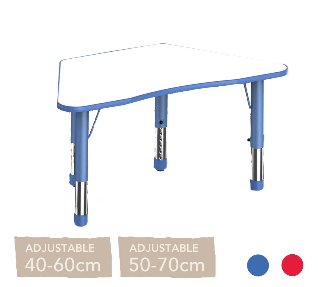 Adjustable Trapezium Polyethylene Table with Orchid White Top - All Heights and Colours
