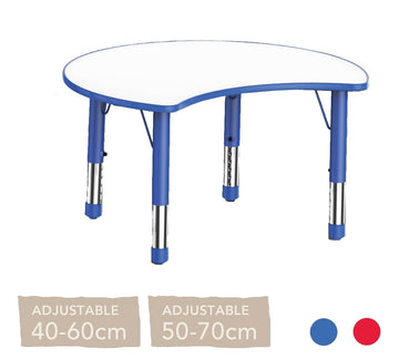 Adjustable Half Moon Polyethylene Table with Orchid White Top - All Heights and Colours