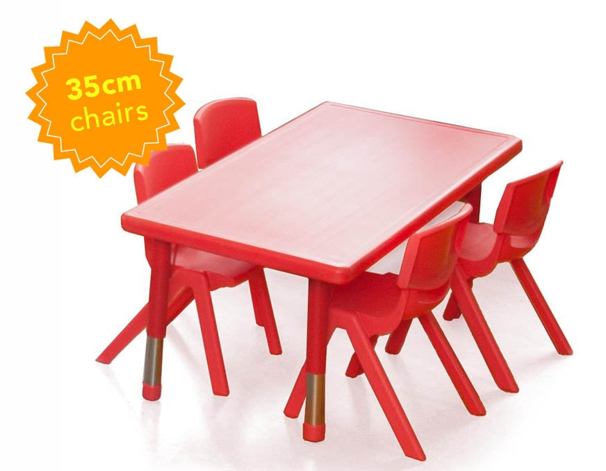 Polyethylene Rectangular Table and  4 x 35cm Chairs