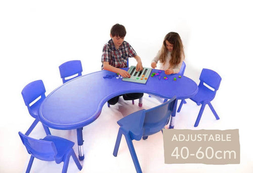 Adjustable Horseshoe Polyethylene Table  Blue  40cm-60cm