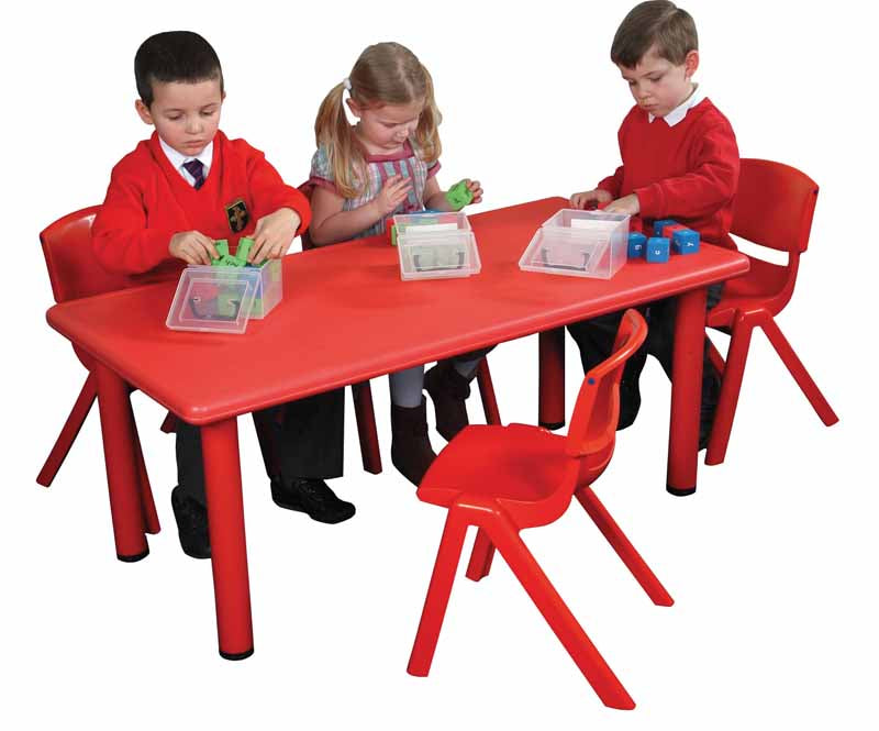 Polyethylene Rectangular Table and  4 x 30cm Chairs