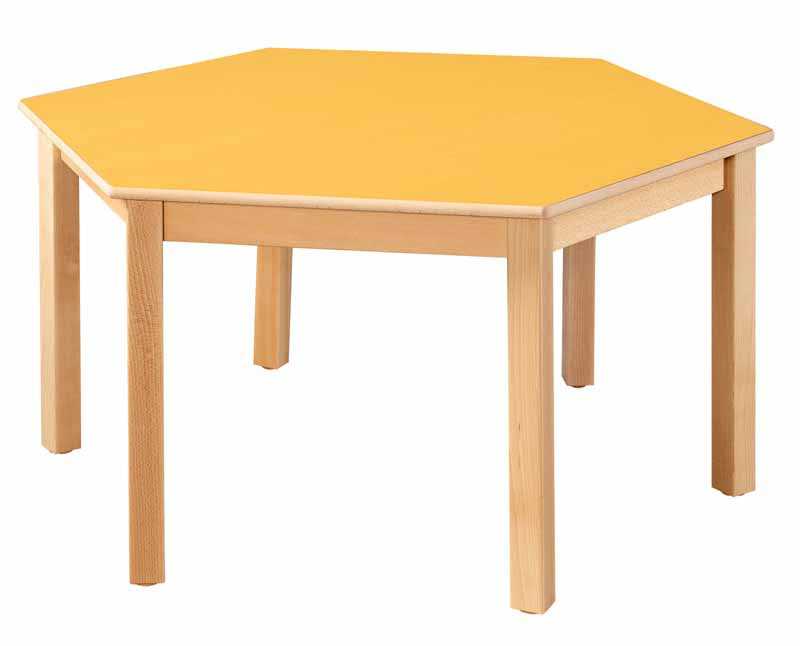 Hexagonal Table Yellow All Heights