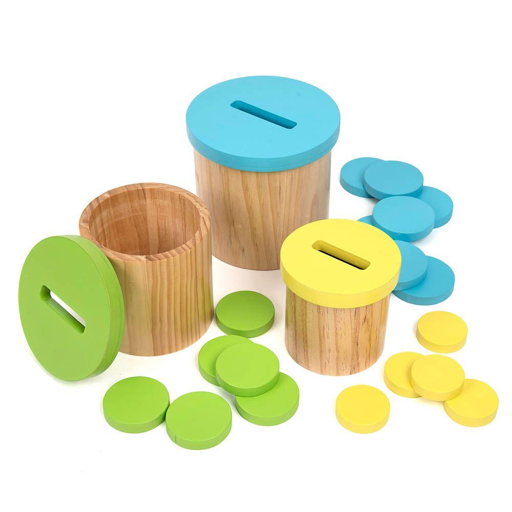 Colour Matching Posting Pots Wooden Discs
