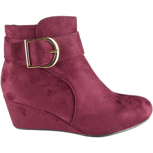 b0c134d3502 Womens Wedge Ankle Boots Ladies Faux Suede Mid Low Heel Buckle Work Shoes  Size