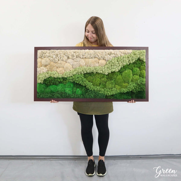 Sage Ombre Mountains in Mahogany Frame