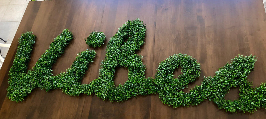 Faux Boxwood Lettering - Perfect for No-Maintenance Green Outdoor Living