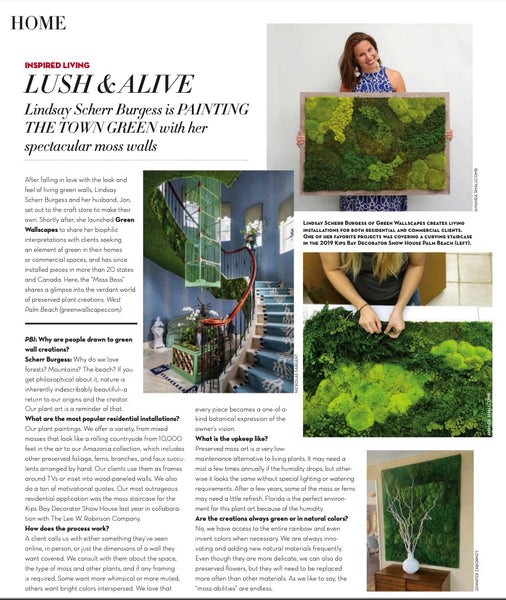 Green Wallscapes Featured in Palm Beach Illustrated!