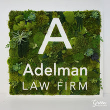 Business logo wall art made with mood moss makes a great office decor or restaurant wall art