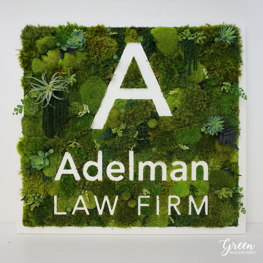 Custom Mood Moss Logo | Moss and Succulent Logo | Office Sign | Custom Logo Sign | Office Wall Decor | Restaurant Wall Art | Office Decor