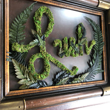 "Moss Word ""Lush"" on Glass in a Vintage Frame"