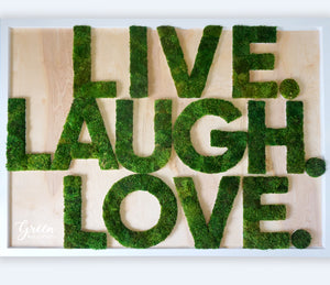 LIVE LAUGH LOVE Moss Lettering - Free Shipping! | Moss Wall Art | Preserved Moss Wall | Living Wall | Interior Moss Wall | Green Wall