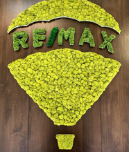 Company Logo wall art made with preserved moss that will sit nice in your office or Restaurant.