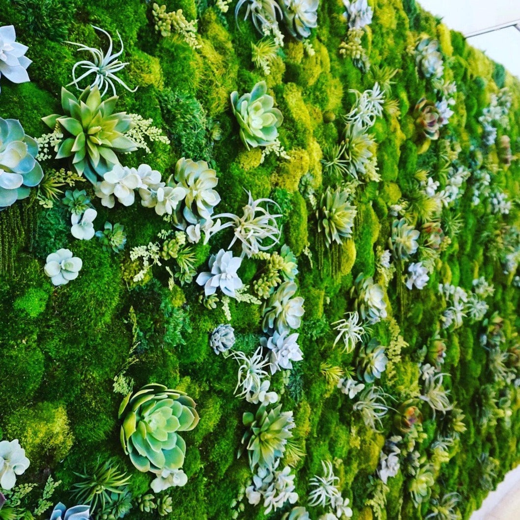 Natural Faux Wall Art with beautiful Succulents can be made in any size. This great floral wall Decor will be a show stopper.