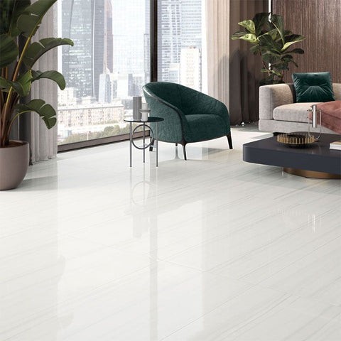 Pure white marble look porcelain tile