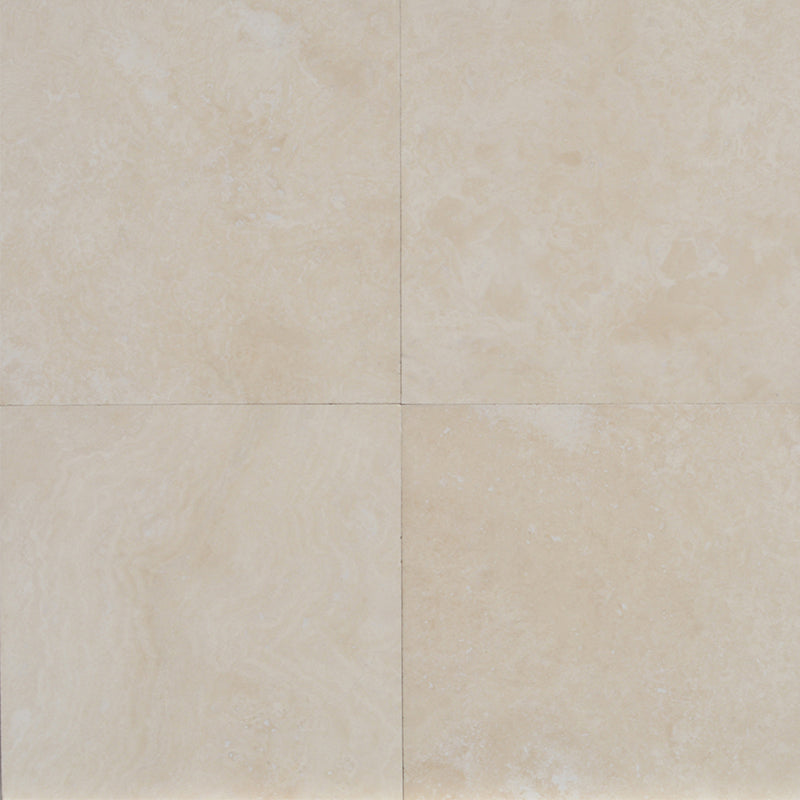 Ivory Travertine 12x12 Filled and Honed Tile - TILE AND MOSAIC DEPOT