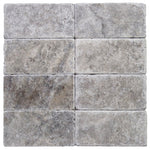 Silver Travertine 3x6 Tumbled Tile - TILE & MOSAIC DEPOT
