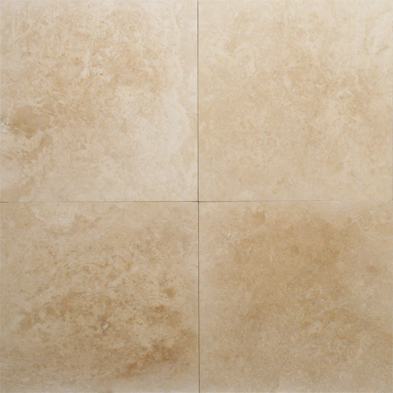 Ivory Travertine 24x24 Filled and Honed Tile - TILE AND MOSAIC DEPOT