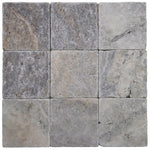 Silver Travertine 4x4 Tumbled Tile - TILE AND MOSAIC DEPOT