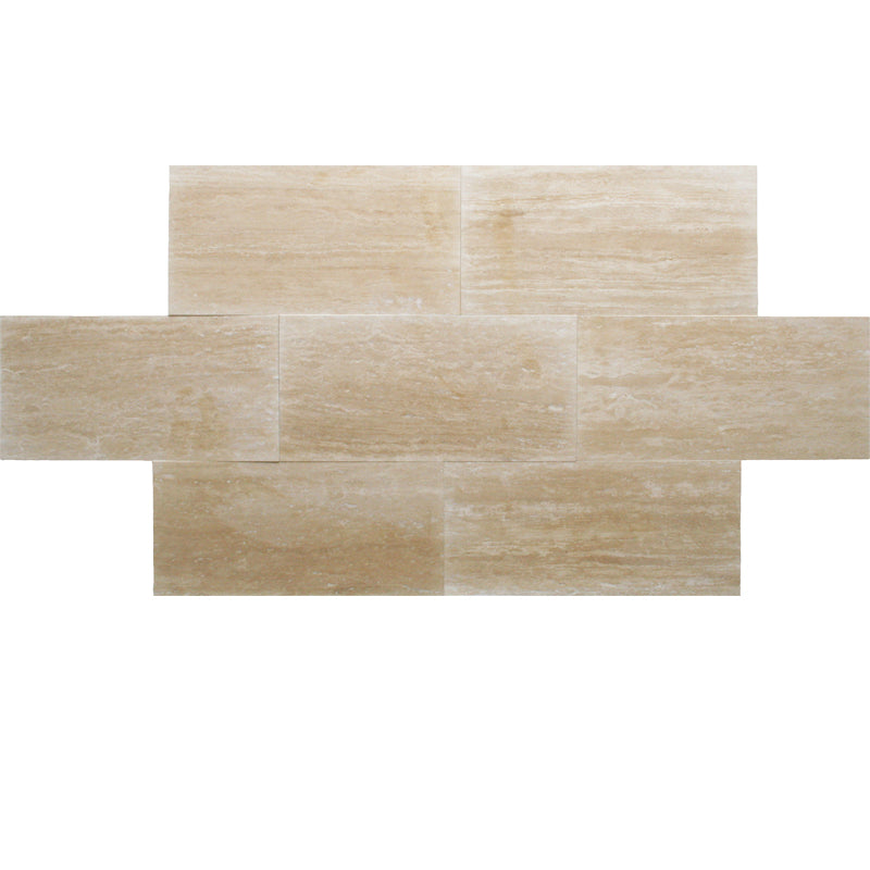 Ivory Travertine Vein Cut 12x24 Honed Tile - TILE AND MOSAIC DEPOT