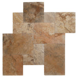 Scabos Travertine Unfilled Tumbled Versailles Pattern - TILE & MOSAIC DEPOT