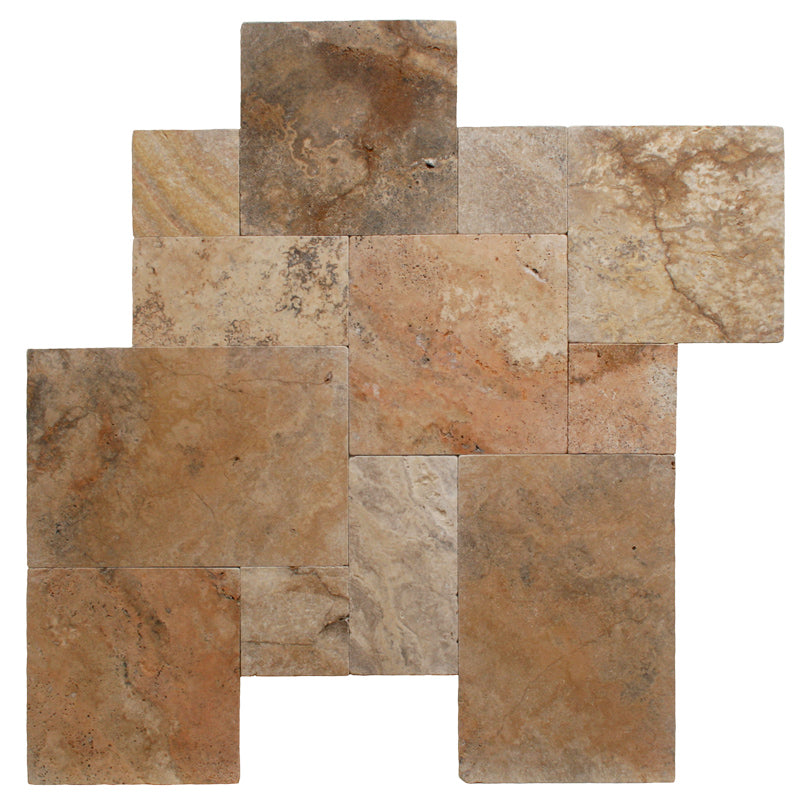 Scabos Travertine Unfilled Tumbled Versailles Pattern - TILE AND MOSAIC DEPOT