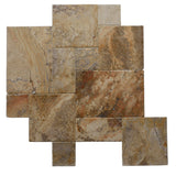 Scabos Travertine Unfilled Brushed and Chiseled Versailles Pattern Tile - TILE AND MOSAIC DEPOT