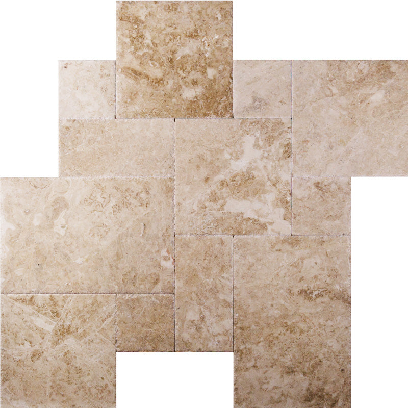 Cappucino Marble Brushed and Chiseled Versailles Pattern Tile - TILE AND MOSAIC DEPOT