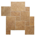 Noce Travertine Brushed and Chiseled Versailles Pattern Tile - TILE & MOSAIC DEPOT
