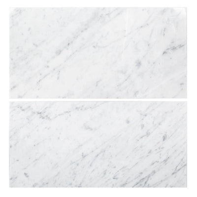 White Carrara Marble 12x24 Polished Tile - TILE AND MOSAIC DEPOT