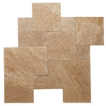 Walnut Travertine 3cm Paver Tumbled Versailles Pattern - TILE AND MOSAIC DEPOT