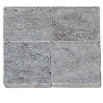 Silver Travertine 6x6 3cm Paver Tumbled - TILE AND MOSAIC DEPOT