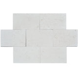 White Pearl Limestone 3cm 16x24 Paver Tumbled - TILE AND MOSAIC DEPOT