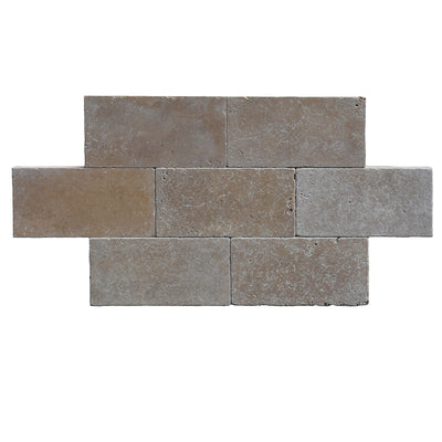 Noce Travertine 6x12 3 cm Tumbled Paver - TILE AND MOSAIC DEPOT